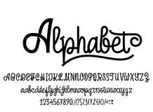 Alfabeto Latin Escrita da fonte com caráteres superiores e lowercase, números e símbolos Roteiro moderno dos monolines ilustração stock