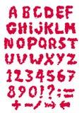 Alfabeto latin vermelho do sangue do esboço Fotos de Stock Royalty Free