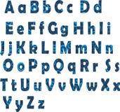 Alfabeto latino blu Immagine Stock Libera da Diritti