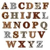 Alfabeto latino con la stampa animale Fotografie Stock