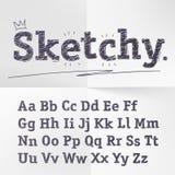 Alfabeto latino di schizzo disegnato a mano di vettore Immagini Stock Libere da Diritti