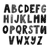 Alfabeto latino dibujado mano en estilo escandinavo stock de ilustración