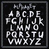 Alfabeto latino, disegnato a mano, vettore illustrazione di stock