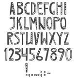 Alfabeto latino inglese di vettore Lettere, numeri, simboli royalty illustrazione gratis