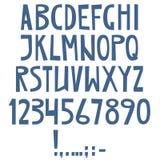 Alfabeto latino inglese di vettore Lettere, numeri, simboli Isolat illustrazione vettoriale