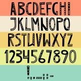 Alfabeto latino inglese di vettore Lettere, numeri, simboli Isolat illustrazione di stock