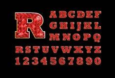 Alfabeto latino jeweled chispeante del ABC de la suposición de rubíes de la piedra preciosa del vector estilizado Utilice las let Stock de ilustración