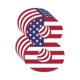 Alfabeto latino numero 8 della bandiera 3d di U.S.A. Fonte strutturata Fotografia Stock