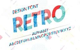 Alfabeto latino retro Fonte di struttura nello stile sveglio di colore del fumetto illustrazione vettoriale