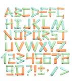 Alfabeto - letras de una textura de papel brillante Imagen de archivo libre de regalías