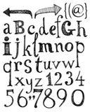 Alfabeto. Letras desenhadas mão. Imagens de Stock