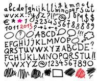 Alfabeto. Letras desenhadas mão. Fotos de Stock
