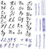 Alfabeto Letras desenhadas mão Letras pretas e Imagens de Stock Royalty Free