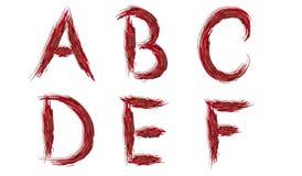 Alfabeto - lettere sanguinose Fotografie Stock