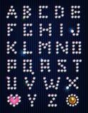 Alfabeto ligero del pixel de los diamantes artificiales del diamante Fotografía de archivo libre de regalías