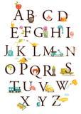Alfabeto lindo de la historieta Foto de archivo libre de regalías
