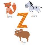 Alfabeto lindo del parque zoológico Fotos de archivo