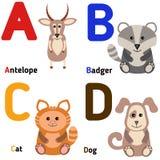 Alfabeto lindo del parque zoológico en vector A, B, C, D Imagen de archivo
