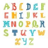 Alfabeto lindo del vector en el fondo blanco cartas Fotografía de archivo libre de regalías