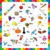 Alfabeto lindo en objetos del vector Imagen de archivo libre de regalías