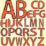 Alfabeto, linea punteggiata, bordi lacerati, cuciti Immagine Stock