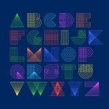 Alfabeto linear das formas geométricas ilustração royalty free