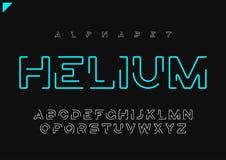 Alfabeto lineare futuristico minimalista di vettore dell'elio, carattere, l royalty illustrazione gratis