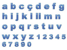 Alfabeto lucido blu Fotografia Stock