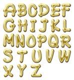 Alfabeto lucido dell'oro Fotografia Stock
