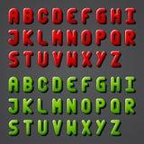 Alfabeto lucido della fonte tipografica Fotografie Stock