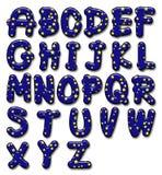 Alfabeto lustroso da estrela Imagens de Stock