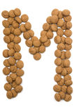 Alfabeto M de la tuerca del jengibre Imagen de archivo libre de regalías