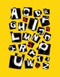 Alfabeto mano dibujada adentro en fondo amarillo stock de ilustración