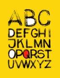 Alfabeto mano dibujada en vector en amarillo stock de ilustración