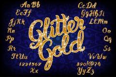 Alfabeto manuscrito del oro del brillo libre illustration