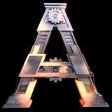 Alfabeto mecánico hecho del hierro Fotografía de archivo libre de regalías