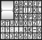 Alfabeto mecânico branco do placar ilustração royalty free