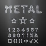 Alfabeto metálico Sistema de los números inoxidables 3d Fotografía de archivo libre de regalías