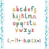 Alfabeto minúsculo con la mano colorida dibujada Fotos de archivo