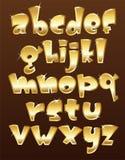 Alfabeto minuscolo dell'oro Fotografia Stock Libera da Diritti