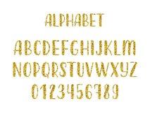 Alfabeto moderno latino disegnato a mano della spazzola di calligrafia di scintillio dell'oro delle lettere maiuscole Vettore Immagini Stock