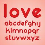 Alfabeto moderno redondo rojo de las letras Fotografía de archivo