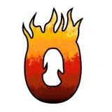 Alfabeto número 0 zero das flamas Imagem de Stock