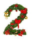 Alfabeto número 2 de la Navidad Imágenes de archivo libres de regalías