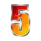 Alfabeto número 5 cinco das flamas Imagem de Stock