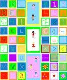 Alfabeto, números y niños Foto de archivo libre de regalías