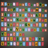 Alfabeto, números y otros símbolos Fotografía de archivo
