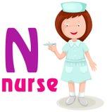 alfabeto N con l'infermiera Fotografie Stock Libere da Diritti