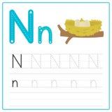 Alfabeto N de la tarjeta de la escritura Foto de archivo libre de regalías