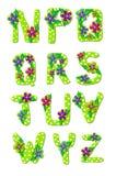 Alfabeto N a Z florales tropicales Foto de archivo libre de regalías